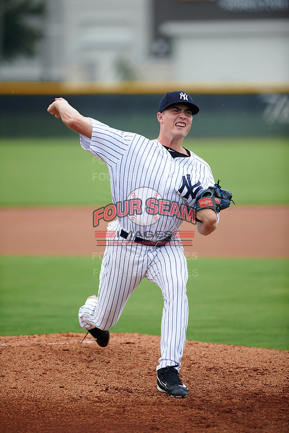 GCL Yankees East pitcher Ron Marinaccio (51) warms up on a side field during the first game of a doubleheader against the GCL Yankees West on July 19, 2017 at the Yankees Minor League Complex in Tampa, Florida.  GCL Yankees West defeated the GCL Yankees East 11-2.  (Mike Janes/Four Seam Images)
