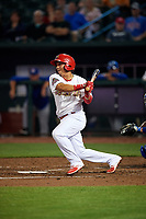 Memphis Redbirds second baseman Wilfredo Tovar (71) follows through on a swing during a game against the Round Rock Express on April 28, 2017 at AutoZone Park in Memphis, Tennessee.  Memphis defeated Round Rock 9-1.  (Mike Janes/Four Seam Images)