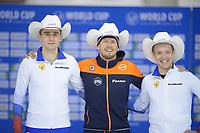 SPEEDSKATING: Calgary, The Olympic Oval, 08-02-2020, ISU World Cup Speed Skating, Podium 5000m Men Division B, Sergey Trofimov (RUS), Douwe de Vries (NED), Ruslan Zakharov (RUS), ©foto Martin de Jong