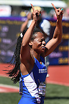 13 JUNE 2015: Dezerea Bryant of Kentucky celebrates after winning the Women's 200 meters during the Division I Men's and Women's Outdoor Track & Field Championship held at Hayward Field in Eugene, OR. Bryant won the event in a time of 22.18. Steve Dykes/ NCAA Photos