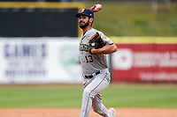 Montgomery Biscuits relief pitcher Brian Shaffer (13) delivers a pitch to the plate against the Tennessee Smokies on May 9, 2021, at Smokies Stadium in Kodak, Tennessee. (Danny Parker/Four Seam Images)
