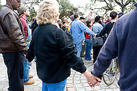 People gather for a rally/protest at Congo Square in downtown New Orleans on December 10, 2005.  After the storm, much of the citizenry of New Orleans felt their voices were not being heard by the local or national government.