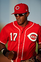 AZL Reds right fielder Fidel Castro (17) jogs off the field between innings of an Arizona League game against the AZL Athletics Green on July 21, 2019 at the Cincinnati Reds Spring Training Complex in Goodyear, Arizona. The AZL Reds defeated the AZL Athletics Green 8-6. (Zachary Lucy/Four Seam Images)
