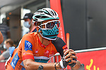 Masked race leader Bryan Coquard (FRA) B&B Hotels-Vital Concept/KTM waits to start Stage 2 of the Route d'Occitanie 2020, running 174.5km from Carcassone to Cap Découverte, France. 2nd August 2020. <br /> Picture: Colin Flockton | Cyclefile<br /> <br /> All photos usage must carry mandatory copyright credit (© Cyclefile | Colin Flockton)