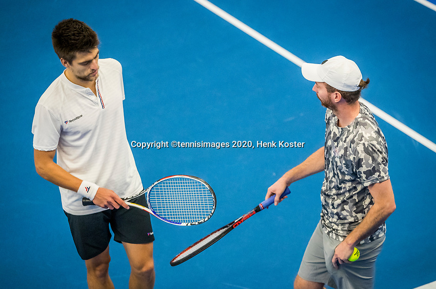 Amstelveen, Netherlands, 18  December, 2020, National Tennis Center, NTC, NK Indoor, National  Indoor Tennis Championships, Doubles   :  Sander Arends (NED) and<br /> Matwe Middelkoop (NED) (R)<br /> Photo: Henk Koster/tennisimages.com