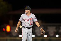 Salt River Rafters third baseman Jake Noll (17), of the Washington Nationals organization, during an Arizona Fall League game against the Scottsdale Scorpions at Scottsdale Stadium on October 12, 2018 in Scottsdale, Arizona. Scottsdale defeated Salt River 6-2. (Zachary Lucy/Four Seam Images)