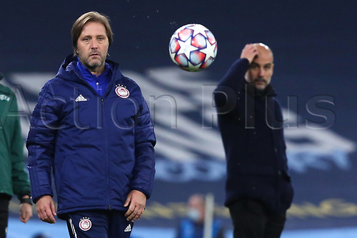 3rd November 2020; City of Manchester Stadium, Manchester, England. UEFA Champions League group stages, Manchester City versus Olympiacos;  Manchester City Trainer Josep Guardiola and Olympiakos Trainer Pedro Martins