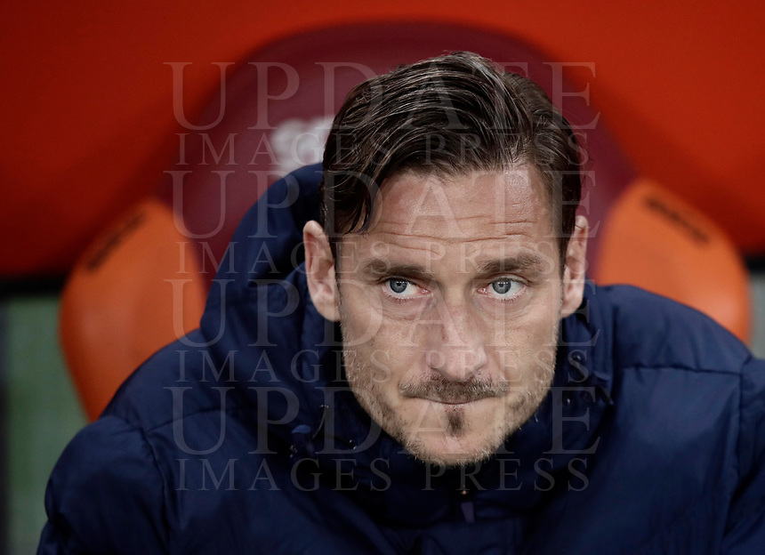 Calcio, Serie A: Roma, stadio Olimpico, 19 marzo, 2017<br /> Roma's Francesco Totti waits for the start of the Italian Serie A football match between Roma and Sassuolo at Rome's Olympic stadium, March 19, 2017<br /> UPDATE IMAGES PRESS/Isabella Bonotto