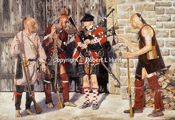"""A bagpiper of the British Army Black Watch Highlander Regiment making music surrounded by curious Woodland Indians at Fort Stanwix, New York. Oil on canvas, 20"""" x 28""""."""