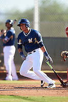 Milwaukee Brewers Jose Sibrian (65) during an Instructional League game against the Cincinnati Reds on October 14, 2016 at the Maryvale Baseball Park Training Complex in Maryvale, Arizona.  (Mike Janes/Four Seam Images)