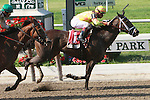 Her Smile with Javier Castellano up win the 64th running of the Grade 1 Prioress Stakes for 3 year old fillies at 6 furlongs, at Belmont Park. Trainer Todd Pletcher.  Owner Bobby Flay.