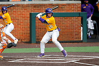 LSU Tigers catcher Alex Milazzo (20) at bat against the Tennessee Volunteers on Robert M. Lindsay Field at Lindsey Nelson Stadium on March 28, 2021, in Knoxville, Tennessee. (Danny Parker/Four Seam Images)