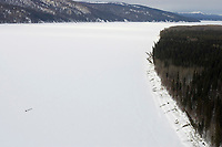 Aerial of Team on Yukon River near Grayling Chkpt 2005 Iditarod