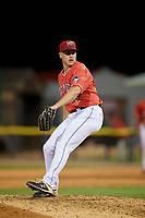 Batavia Muckdogs relief pitcher Cason Sherrod (36) during a NY-Penn League game against the Auburn Doubledays on June 14, 2019 at Dwyer Stadium in Batavia, New York.  Batavia defeated 2-0.  (Mike Janes/Four Seam Images)
