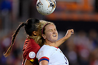 HOUSTON, TX - FEBRUARY 03: Lindsey Horan #9 of the United States battles in the air for a ball during a game between Costa Rica and USWNT at BBVA Stadium on February 03, 2020 in Houston, Texas.
