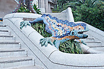Europe, Spain, Catalonia, Barcelona, Parc Guell, Mosaic Dragon