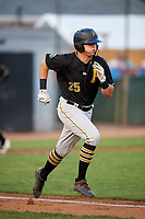 Bristol Pirates designated hitter Conner Uselton (25) runs to first base during a game against the Bluefield Blue Jays on July 26, 2018 at Bowen Field in Bluefield, Virginia.  Bristol defeated Bluefield 7-6.  (Mike Janes/Four Seam Images)