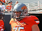 Oklahoma State Cowboys offensive linesman Nick Martinez (75) in action during the game between the Baylor Bears and the Oklahoma State Cowboys at the Boone Pickens Stadium in Stillwater, OK. Oklahoma State defeats Baylor 59 to 24.