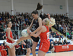 New Zealand's Anna Harrison in action during todays match   <br /> <br /> Swansea University International Netball Test Series: Wales v New Zealand<br /> Ice Arena Wales<br /> 08.02.17<br /> ©Ian Cook - Sportingwales