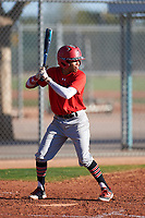 Brendon Gibson (44), from Indianapolis, Indiana, while playing for the Red Sox during the Under Armour Baseball Factory Recruiting Classic at Red Mountain Baseball Complex on December 29, 2017 in Mesa, Arizona. (Zachary Lucy/Four Seam Images)