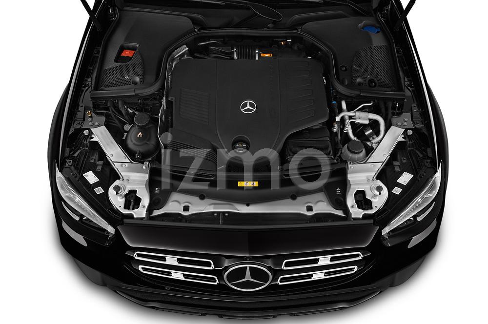 Car Stock 2021 Mercedes Benz E-Class-Wagon E450-All-Terrain 5 Door Wagon Engine  high angle detail view
