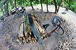 A bicycle with a bundle of firewood in the ancient city of Angkor Thom.
