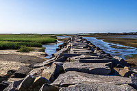 Jetty leading to Wood End Lighthouse, Provincetown, Cape Cod, Massachusetts, USA.