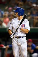 South Bend Cubs Bryce Ball (22) bats during a game against the Quad Cities River Bandits on August 20, 2021 at Four Winds Field in South Bend, Indiana.  (Mike Janes/Four Seam Images)