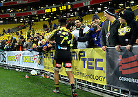 Ardie Savea mingles with fans after the Super Rugby final match between the Hurricanes and Lions at Westpac Stadium, Wellington, New Zealand on Saturday, 6 August 2016. Photo: Dave Lintott / lintottphoto.co.nz