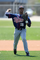 March 18, 2010:  Shortstop Reggie Williams (18) of the Minnesota Twins organization during Spring Training at the Ft. Myers Training Complex in Ft. Myers, FL.  Photo By Mike Janes/Four Seam Images