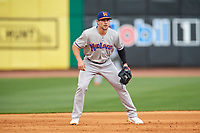 Midland RockHounds third baseman Jordan Tarsovich (5) during a game against the Northwest Arkansas Naturals on May 27, 2017 at Arvest Ballpark in Springdale, Arkansas.  NW Arkansas defeated Midland 3-2.  (Mike Janes/Four Seam Images)
