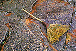 Broom left on a stone stop, Huang Shan, China