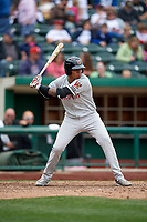 Wisconsin Timber Rattlers shortstop Gilbert Lara (11) at bat during a game against the Fort Wayne TinCaps on May 10, 2017 at Parkview Field in Fort Wayne, Indiana.  Fort Wayne defeated Wisconsin 3-2.  (Mike Janes/Four Seam Images)