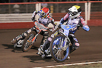Heat 4: Rory Schlein (red) and Kauko Nieminen (yellow) - Lee Richardson Memorial Speedway Meeting at Arena Essex Raceway, Purfleet - 28/09/12 - MANDATORY CREDIT: Gavin Ellis/TGSPHOTO - Self billing applies where appropriate - 0845 094 6026 - contact@tgsphoto.co.uk - NO UNPAID USE.