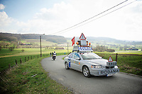 the infamous Rodania car anouncing the pelotons approach<br /> <br /> GP Le Samyn 2014