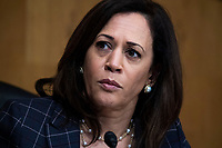 """United States Senator Kamala Harris (Democrat of California) attends the US Senate Homeland Security and Governmental Affairs Committee hearing titled """"CBP Oversight: Examining the Evolving Challenges Facing the Agency,"""" in Dirksen Senate Office Building on Thursday, June 25, 2020.<br /> Credit: Tom Williams / Pool via CNP/AdMedia"""