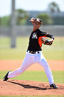 Miami Marlins pitcher Luis Castillo (83) during a minor league spring training game against the St. Louis Cardinals on March 31, 2015 at the Roger Dean Complex in Jupiter, Florida.  (Mike Janes/Four Seam Images)