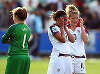 Dejected USA players L_R Alexa Gaul, Sam Johnson and Kristie Mewis. USA v Korea Republic. FIFA U-17 Women's World Cup Final. North Harbour Stadium, Auckland, Sunday 16 October 2008. Photo: Simon Watts/PHOTOSPORT