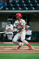 Peoria Chiefs Jordan Walker (33) bats during a game against the Beloit Snappers on August 18, 2021 at ABC Supply Stadium in Beloit, Wisconsin.  (Mike Janes/Four Seam Images)