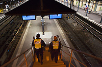 Switzerland. Canton Ticino. Bellinzona. Railway station.Two police officers from TPO (Transport Police) walk down the stairs at night. TPO (Transport Police) is the Swiss Federal Railways Police. Swiss Federal Railways (German: Schweizerische Bundesbahnen (SBB), French: Chemins de fer fédéraux suisses (CFF), Italian: Ferrovie federali svizzere (FFS)) is the national railway company of Switzerland. It is usually referred to by the initials of its German, French and Italian names, as SBB CFF FFS.10.06.2017 © 2017 Didier Ruef