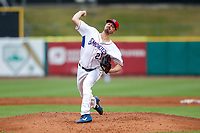 Tennessee Smokies starting pitcher Matt Swarmer (21) delivers a pitch to the plate against the Biloxi Shuckers on May 18, 2021, at Smokies Stadium in Kodak, Tennessee. (Danny Parker/Four Seam Images)