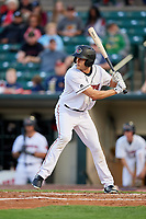 Rochester Red Wings right fielder Nick Buss (12) at bat during a game against the Pawtucket Red Sox on May 19, 2018 at Frontier Field in Rochester, New York.  Rochester defeated Pawtucket 2-1.  (Mike Janes/Four Seam Images)