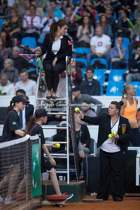 Bratislava, Slovenia, April 23, 2017,  FedCup: Slovakia-Netherlands,seccond rubber sunday,  ITF Umpites: Alison Huges (GRB) (R) and in the chair Anja Vleg (SLO)<br /> Photo: Tennisimages/Henk Koster