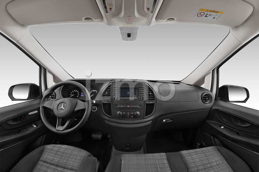 Stock photo of straight dashboard view of 2020 Mercedes Benz eVito Base 4 Door Cargo Van Dashboard