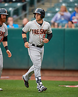 Preston Tucker (9) of the Fresno Grizzlies during the game against the Salt Lake Bees in Pacific Coast League action at Smith's Ballpark on April 17, 2017 in Salt Lake City, Utah. The Bees defeated the Grizzlies 6-2. (Stephen Smith/Four Seam Images)
