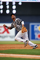 Tampa Yankees third baseman Abiatal Avelino (22) tracks a pop up during a game against the Bradenton Marauders on April 15, 2017 at George M. Steinbrenner Field in Tampa, Florida.  Tampa defeated Bradenton 3-2.  (Mike Janes/Four Seam Images)