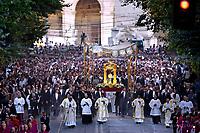 Corpus Domini procession;Pope Francis during a Corpus Domini procession between the basilicas San Giovanni in Laterano and Santa Maria Maggiore on in Rome.18 June 2017