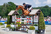 AUS-Kevin McNab rides Scuderia 1918 Don Quidam during the Showjumping for the Meßmer Trophy mit Deutscher Meisterschaft CCI4*-S. Final-7th. The Longines Luhmuehlen International Horse Trials. Salzhausen, Germany. Sunday 16 June. Copyright Photo: Libby Law Photography