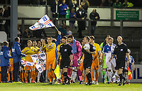 The Teams Head out onto the pitch with Referee Oliver Langford and his Officials during the Johnstone's Paint Trophy match between Bristol Rovers and Wycombe Wanderers at the Memorial Stadium, Bristol, England on 6 October 2015. Photo by Andy Rowland.