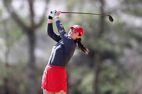 WALLACE, NC - MARCH 09: Abby Parsons of Boston University tees off on the 16th hole of the River Course at River Landing Country Club on March 09, 2020 in Wallace, North Carolina.